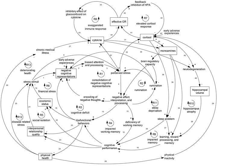 Diagram shows the comprehensive model of depression.