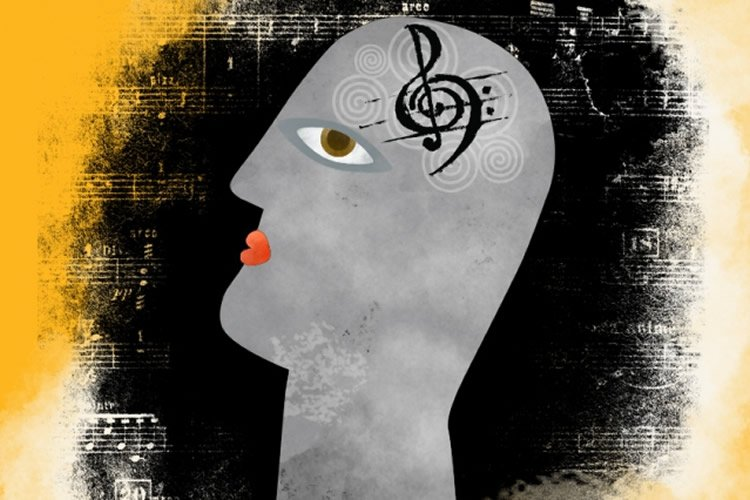 Drawing of a person's head with a music note in the middle.