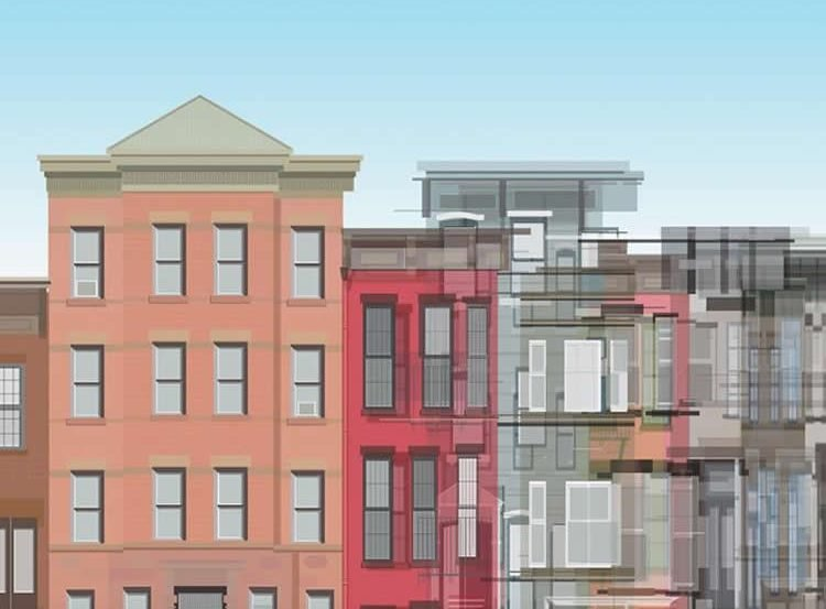 Cartoon of a person walking past some colored buildings.