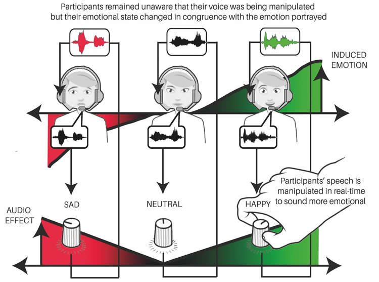 Diagram outlines effect of audio on emotion.