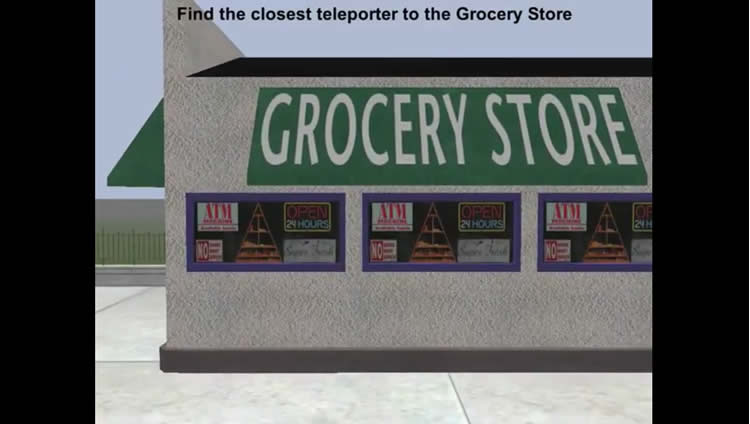 Image shows a virtual grocery store and instructions to find the closest teleporter.