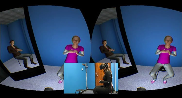 Image shows the virtual reality system and patient role playing.