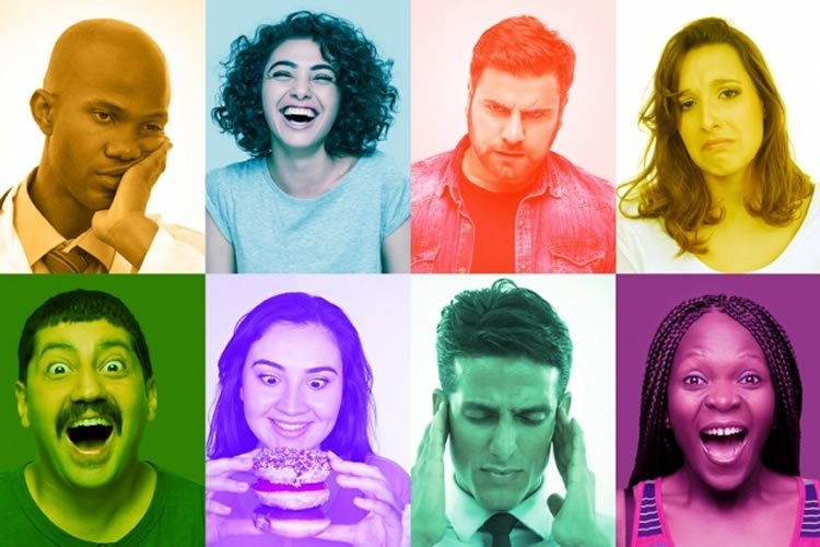 Image shows people laughing, eating, and expressing different emotions.