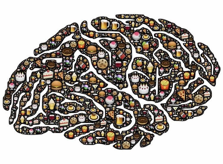 Image shows the shape of a brain made up of food images.