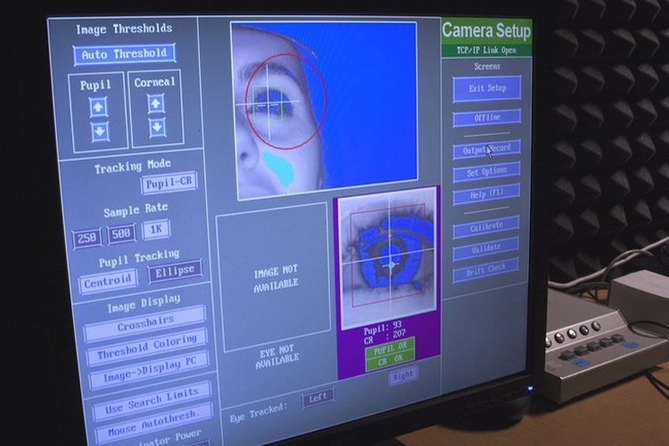 Image shows the eye tracking software on a computer.