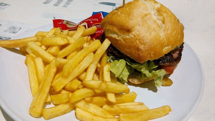 Photo of a burger and fries.