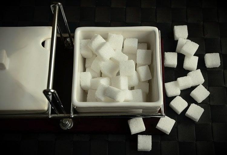 Image shows sugar cubes.