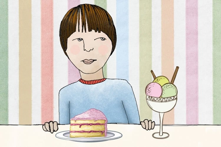 Image shows a cartoon of a child sitting infront of cake and ice cream.