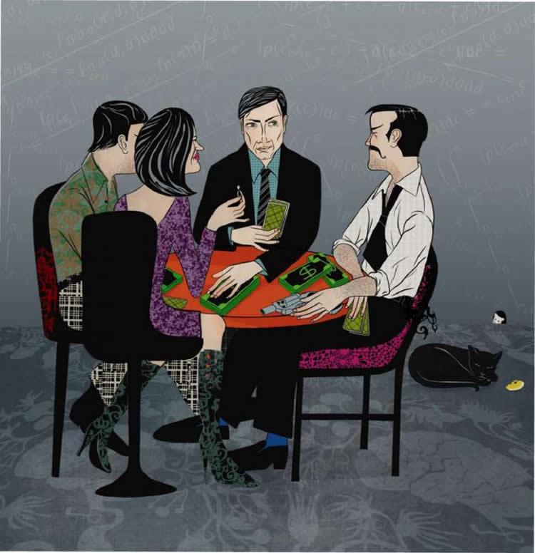 Illustration of people playing poker.
