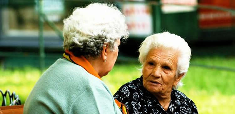 Image shows two old ladies.