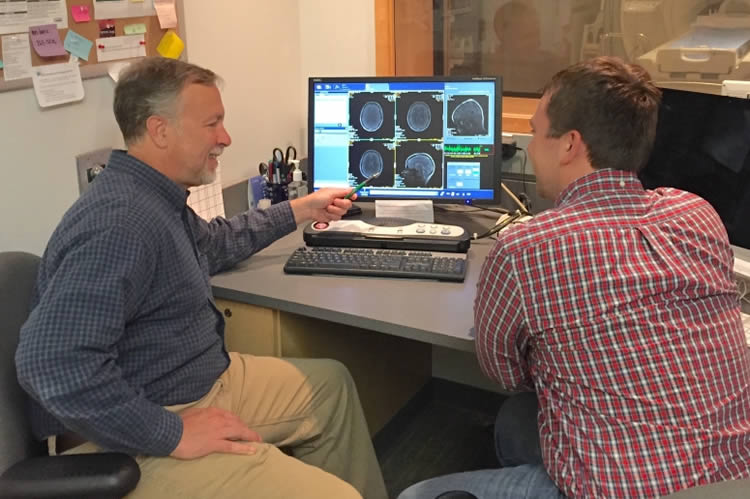 Image shows the researchers looking at brain scans.