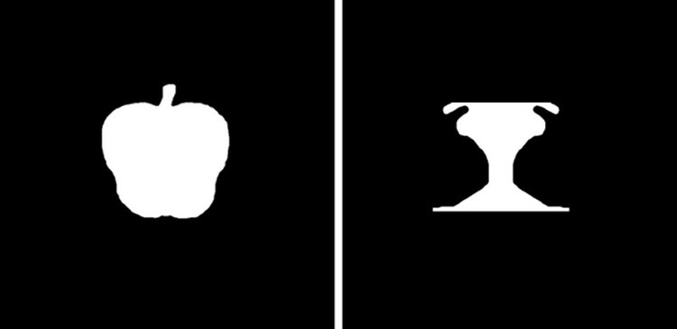 Image shows black and white images of an apple.