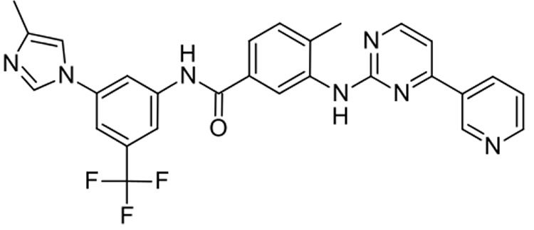 Image shows the chemical structure of nilotinib.