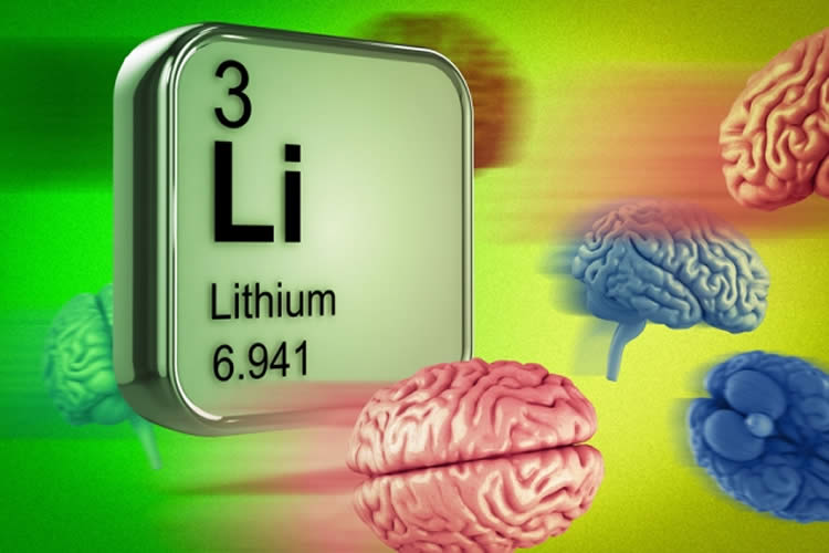 Image shows brains and the periodic table square for lithium.