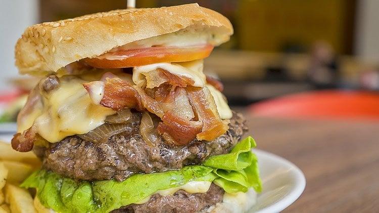 Image shows a massive hamburger.