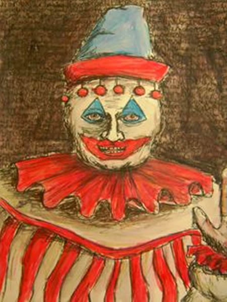 Image shows a clown painting of John Wayne Gacy.