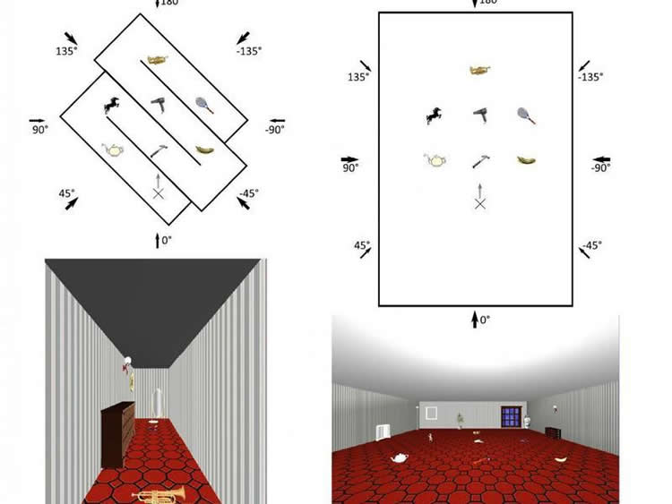 Image shows a room and a map.