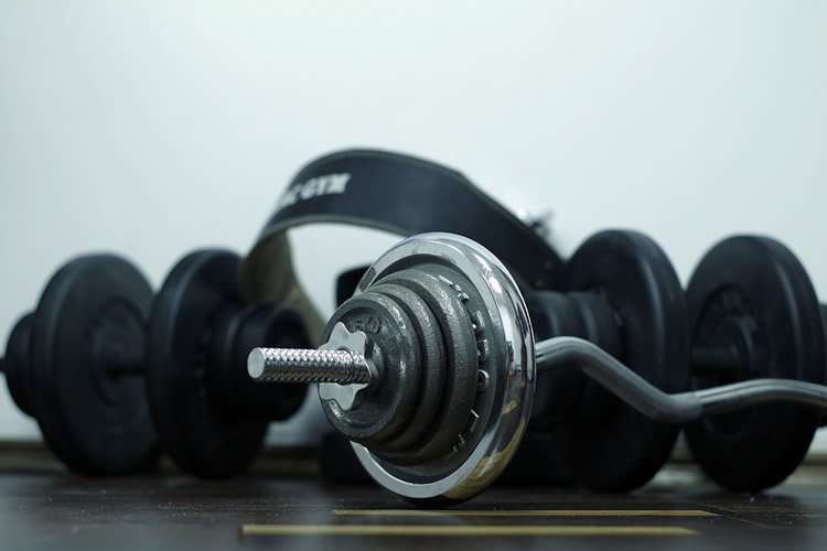 Image shows gym equipment.