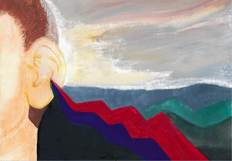 Painting of a person's ear and sound waves.