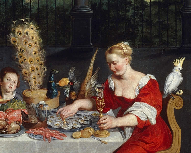 """Image shows the painting """"The Senses of Hearing, Touch and Taste""""."""