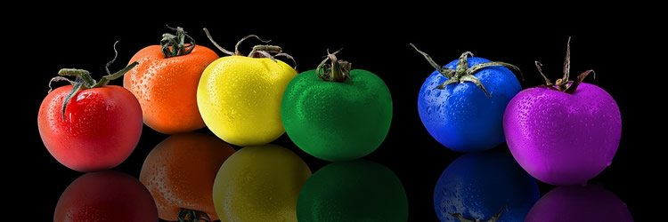 Image shows multi colored fruit.
