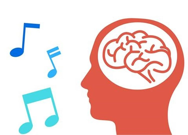 Image shows head and music notes.