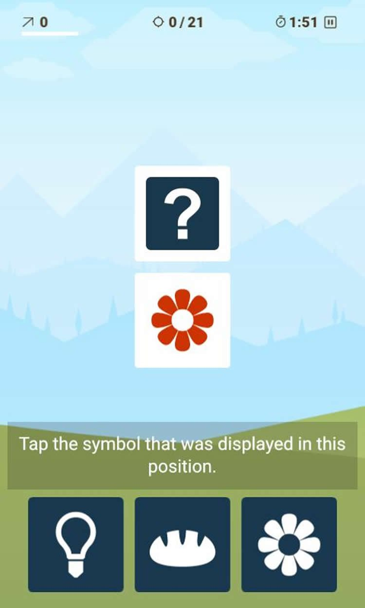 Image shows a still from a brain training app.