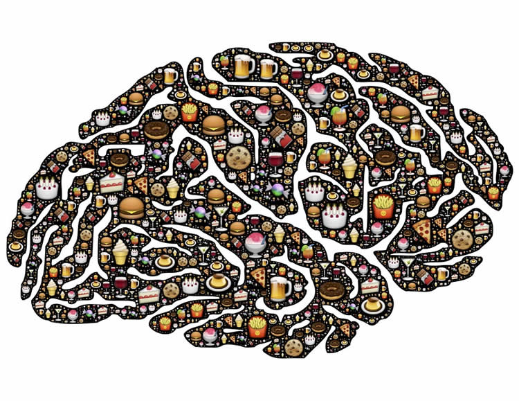 Image shows a drawing of a brian made up of junk food.