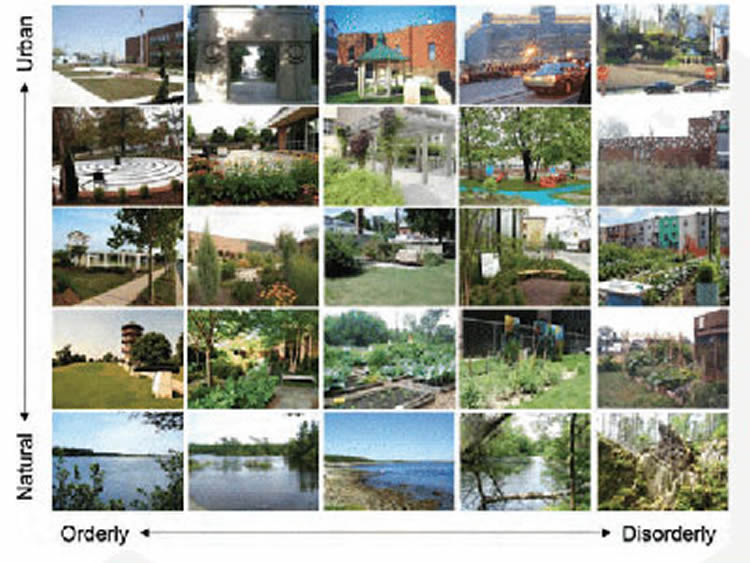 Image shows stills of locations in different hues.