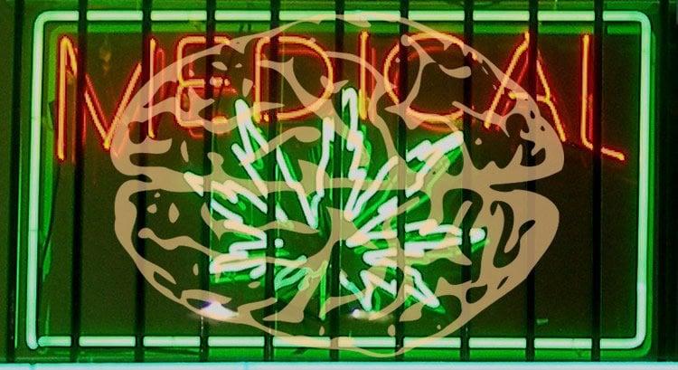 Image shows a medical marijuana sign.