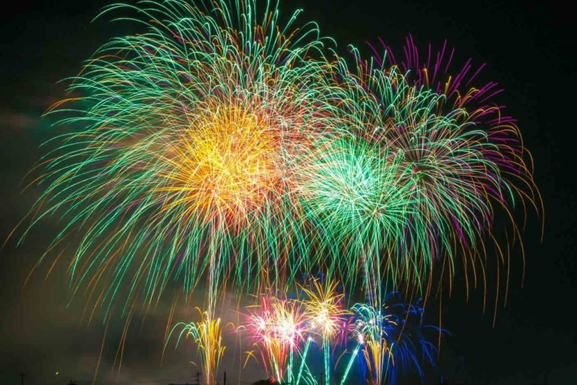 fireworks are shown.