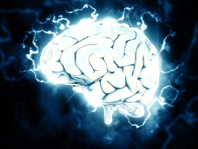 Image shows a brain surrounded by electricity.