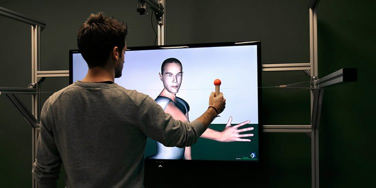 Image shows a person taking the mirror test.