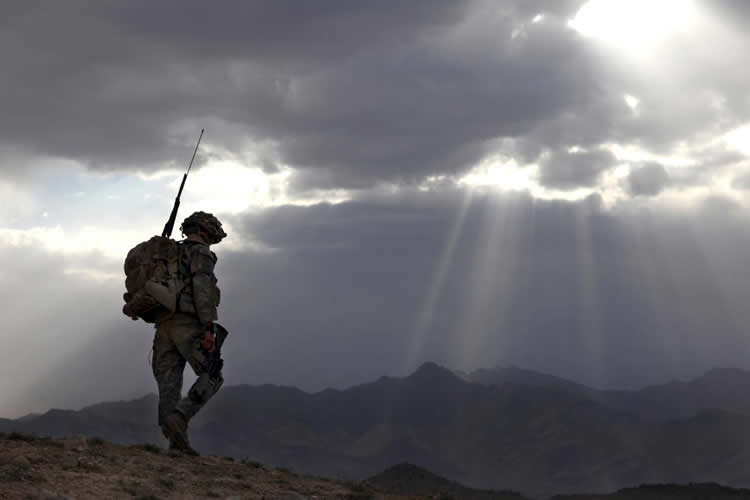 Image shows a soldier on a hit top.