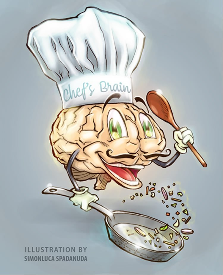Image shows a drawing of a brain in a chef hat, holding a frying pan.