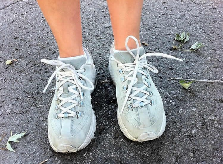 Image shows a a pair of exercise shoes.