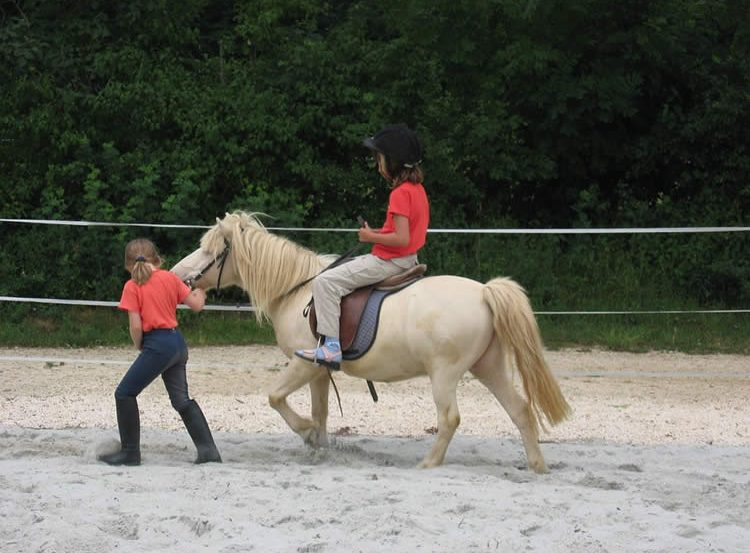 Image shows a little girl riding a horse.