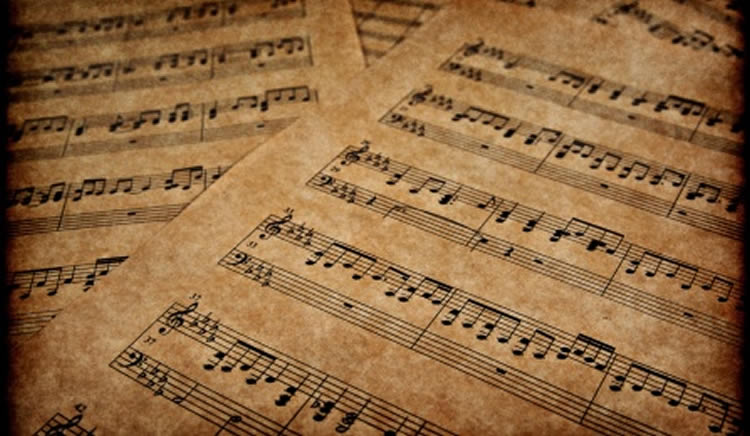 Image shows sheets of music notation.