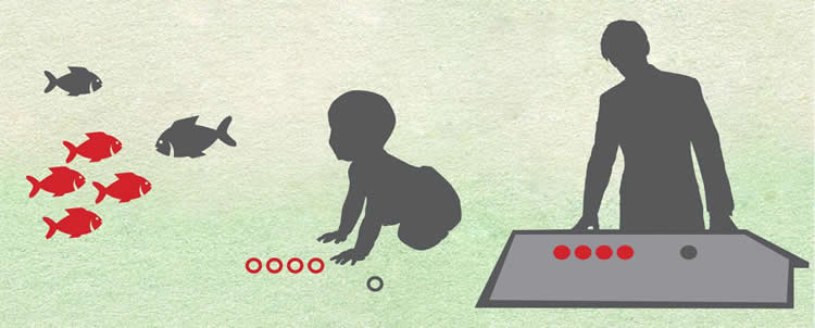 Image shows child and man counting.
