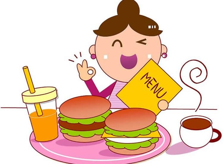 Image shows a cartoon of a woman and food.