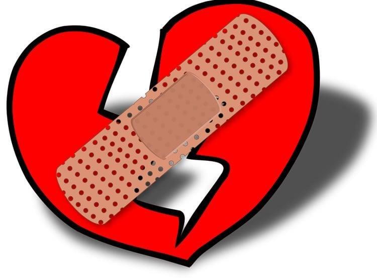 Image shows a broken heart.