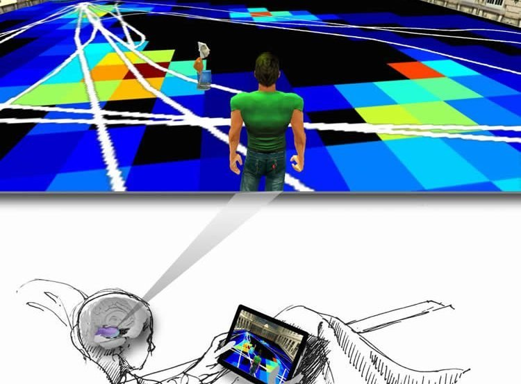 Image shows the virtual reality environment.