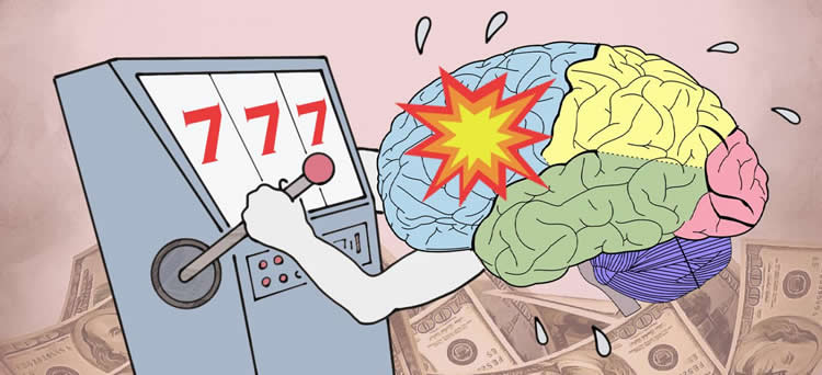 Image shows a drawing of a brain playing a slot machine.