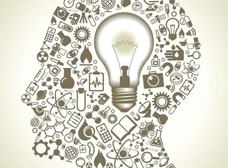 Image shows a head made up of items related to science, such as microscopes and atoms.