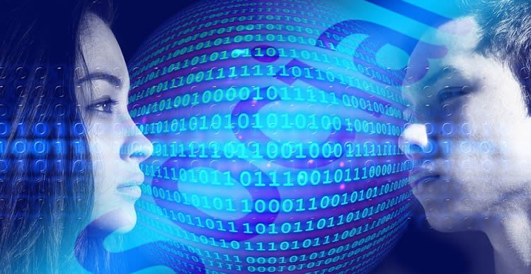 Image shows two people and binary code.