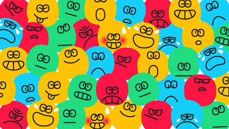 Image shows differnt expression emoji faces.