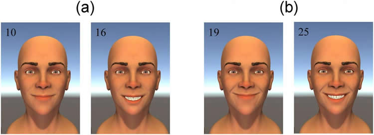 Image shows the computer model smiling.