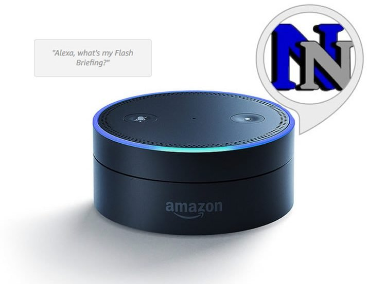 Image shows a an Amazon echo dot and the neuroscience news logo.