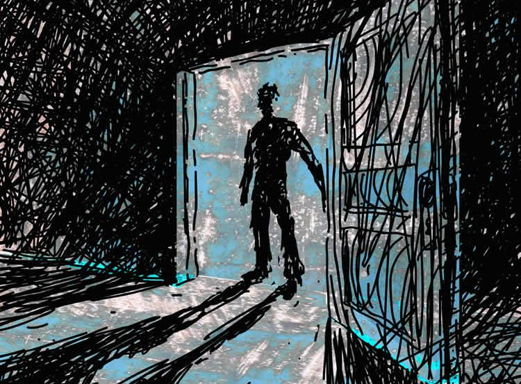Image shows a man standing by a door.