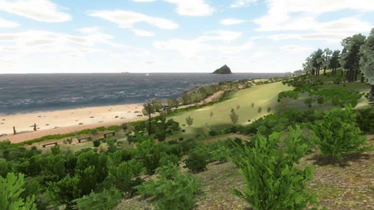 Image shows the virtual beach.